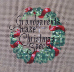 "D-156 Grandparents Make Christmas Special (on brown canvas) 4"" round 18 Mesh Designs By Dee"