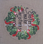 "D-160 Sisters Make Christmas Special (on brown canvas) 4"" round 18 Mesh Designs By Dee"