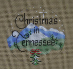 "D-205 Christmas in Tennessee (on brown canvas) 4"" round 18 Mesh Designs By Dee"
