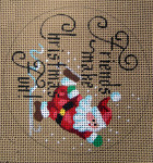 "D-181 Friends Makes Christmas Fun! (on brown canvas) 4"" round 18 Mesh Designs By Dee"