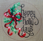 "D-190 Happy Holly Days on brown canvas) 4"" round 18 Mesh Designs By Dee"