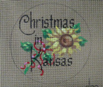 "D-218 Christmas in Kansas  (on brown canvas) 4"" round 18 Mesh designs By Dee"
