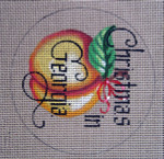 "D-175 Christmas in Georgia (on brown canvas) 4"" round 18 Mesh Designs By Dee"