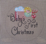 "D-170 Baby's 1st Christmas (on brown canvas 4"" round 18 Mesh Designs By Dee"