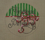 "D-206 Christmas in Pittsburgh  (on brown canvas) 4"" round 18 Mesh Designs By DEE"
