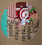 "D-182  My Grandson Makes Christmas Special (Noah's Ark) (on brown canvas) 4"" round 18 Mesh Designs By Dee"