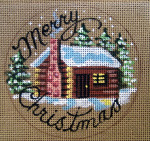"D-191 Merry Christmas (Log Cabin) (on brown canvas) on brown canvas) 4"" round 18 Mesh Designs By Dee"