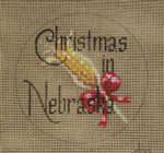 "D-219 Christmas in Nebraska (on brown canvas) 4"" round 18 Mesh Designs By Dee"