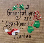 "D-187 Grandfathers Are Year Round Santas (on brown canvas) 4"" round 18 Mesh Designs By Dee"