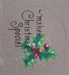 "D-166 __________Makes Christmas Special  (on brown canvas) 4"" round 18 Mesh Designs By DEE"