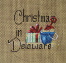"D-183 Christmas in Delaware (on brown canvas) 4"" round 18 Mesh Designs By Dee"