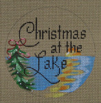 """D-207 Christmas on the Lake (on brown canvas) 4"""" round 18 Mesh Designs By Dee"""