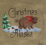 "D-221 Christmas in Alaska on brown canvas) 4"" round 18 Mesh Designs By Dee"