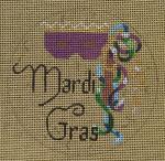 "D-178 Mardi Gras (on brown canvas) 4"" round 18 Mesh Designs By Dee"