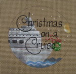 """D-208 Christmas on a Cruise  (on brown canvas) 4"""" round 18 Mesh Designs By Dee"""