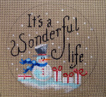 "D-199 It's a Wonderful Life (on brown canvas) 4"" round 18 Mesh Designs By Dee"