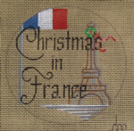 "D-222 Christmas in France on brown canvas) 4"" round 18 Mesh Designs By DEE"