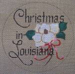 "D-203 Christmas in Louisiana  (on brown canvas) 4"" round 18 Mesh Designs By Dee"
