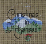 "D-204 Christmas in Arkansas (on brown canvas) 4"" round 18 Mesh Designs By Dee"