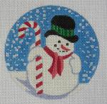 "GL-85 Danji Designs GaIL Lang Candy Cane Snowman Ornament 4"" round 18 Mesh"
