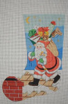 J-27 Santa on roof stocking 10 x 17 13 Mesh DESIGNS BY JINICE