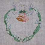 J-12 Doves and Bells Announcement (stitch guide available) 8 x 8 18 Mesh DESIGNS BY JINICE