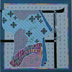 J-942 Kimono on Pewter (outline only -- includes stitchguide) 10 x 10 18 Mesh DESIGNS BY JINICE