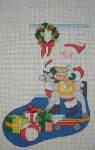 J-23 Santa/rocking horse stocking 10 x 17 13 Mesh DESIGNS BY JINICE