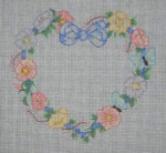 J-13 Flowers/Ribbon Heart Announcement (stitch guide available) 8 x 8 18 Mesh DESIGNS BY JINICE
