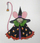 LD-01 Witch Mouse (stitch guide available)  4 ½ x 5 18 Mesh LAINEY DANIELS