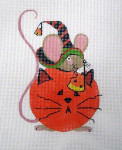 LD-02 Mouse in Pumpkin Cat 3 ½ x 5 18 Mesh LAINEY DANIELS