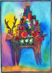 LB-52 Reindeer Bearing Gifts 10 x 14 18 Mesh Danji Designs LAUREL BURCH