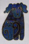 LB-17 Blue Dog (stitch guide available)  3 x 4 18 Mesh Danji Designs LAUREL BURCH
