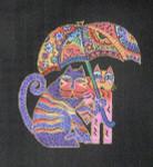 LB-44 Cats with Umbrellas on black canvas  5 ¼ x 6 18 Mesh Danji Designs LAUREL BURCH