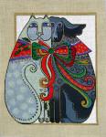 LB-58 Holiday Cat and Dog 10 x 13 18 Mesh Danji Designs LAUREL BURCH