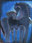 LB-19 Indigo Horses 12 x 16 18 Mesh Danji Designs LAUREL BURCH
