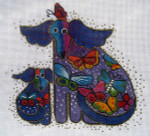 LB-16 Dogs with Butterflies (stitch guide available) 6 x 6 18 Mesh Danji Designs LAUREL BURCH