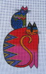LB-25 Red Cat with Cat on Shoulder 3 ½ x 6 18 Mesh Danji Designs LAUREL BURCH