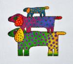 LB-45 Dog Tribe 6 x 5 18 Mesh Danji Designs LAUREL BURCH