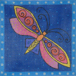 LB-67 Blue Dragonfly 5 x 5 18 Mesh Danji Designs LAUREL BURCH