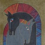 LB-39 Embracing Horses 12 ¼ x 12 ¼  13 Mesh Danji Designs LAUREL BURCH