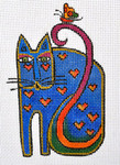 LB-27 Cat with Hearts and Butterfly 4 x 6 13 Mesh Danji Designs LAUREL BURCH