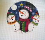 "LK-03 Snowman Carolers 5"" Round 18 Mesh Danji Designs LAURIE KORSGADEN"