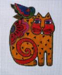 LB-26 Orange Cat with Bird 4 ½ x 6 13 Mesh Danji Designs LAUREL BURCH