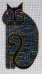 LB-13 Blue Cat 3 x 5 ½ 18  Mesh Danji Designs LAUREL BURCH