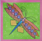 LB-69 Green Dragonfly 5 x 5 18 Mesh Danji Designs LAUREL BURCH