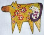 LB-60 Golden Dog and Friend 5 ½ x 4 ½ 18 Mesh Danji Designs LAUREL BURCH