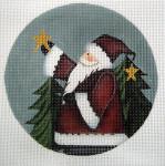 """LK-31 Santa Holding Star $23.00 5"""" Round 18 Mesh LAURIE KORSGADEN"""