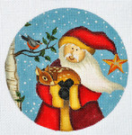 "LK-46 Santa and Deer ornament 5"" Round 18 Mesh LAURIE KORSGADEN"