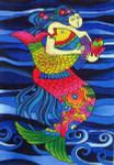 LB-41 Mermaid and Fish 11 x 16 18 Mesh Danji Designs LAUREL BURCH
